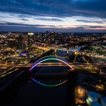 Nashville bridge lit in rainbow colors to honor 2016 Bingham Cup   Photo credit: Music City Aerial