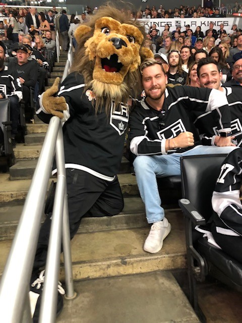 Kings Mascot Bailey(left) Lance Bass (center) and Michael Turchin (right) enjoying the Kings game during the Super Sports Equinox in LA on 10-28-18