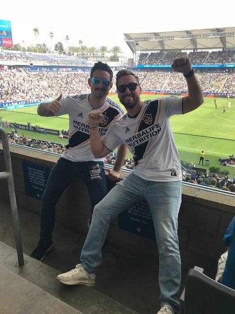 Michael Turchin (left) and Lance Bass (right) enjoying the Galaxy game during the Super Sports Equinox in LA on 10-28-18 (1)