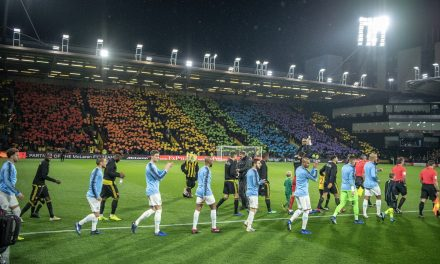 Watford Football Club and Fans Support LGBTI Pride with Human Rainbow Flag